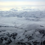 Flying to Venice over the Alps