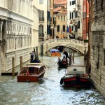 Gondoliers near the Bridge of Sighs