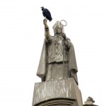 Statue with a funny bird on it