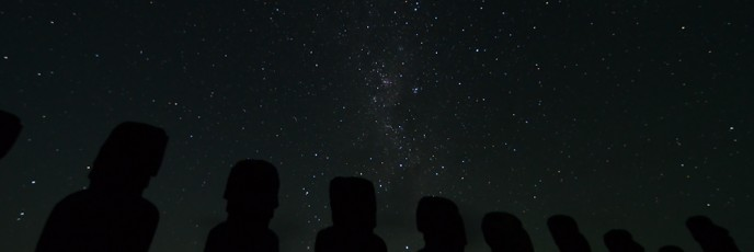 Night sky at the Tongariki Moai