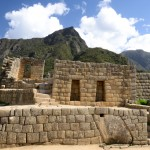 Machu Picchu Ruins with Machu Mountain in the distance