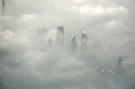 Flying into a foggy London