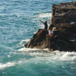Fishing in rough seas